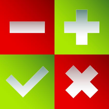 subtract: Check mark, cross, plus, minus sign set. vector