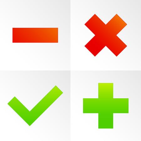 minus sign: Check mark, cross, plus, minus sign set. vector