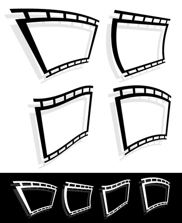 perforation tape: Black and white filmstrip, photo strip vector graphics. Illustration