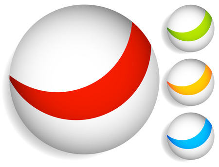 divided: Striped, divided circles, colorful sphere graphic elements.