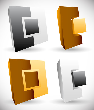 interlocking: Interlocking squares. Angular icons, logos. Vector illustration.