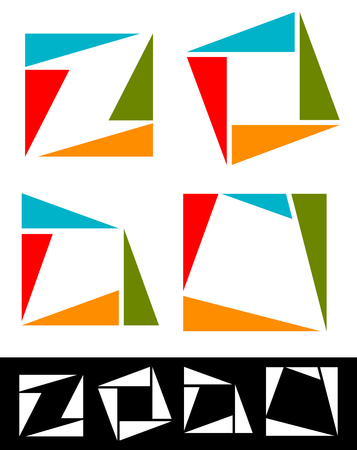 logotypes: Set of abstract, colorful square icons, logotypes made of triangles. Vector.