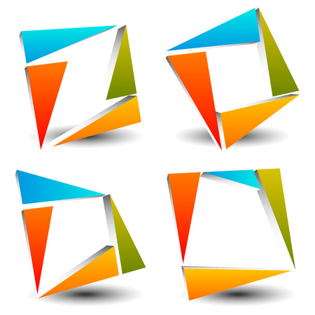 variation: Set of abstract, colorful square icons, logotypes made of triangles. Vector.
