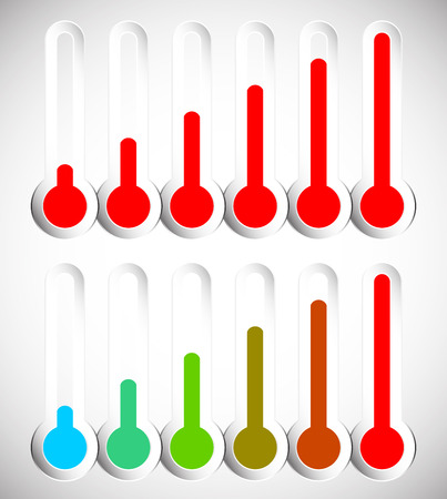 hotness: Simple thermometer graphics for temperature, level, climate, coldness, hotness concepts.