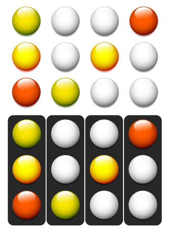 backlog: Set of traffic lights, lamps, signals. Green, yellow and red light.