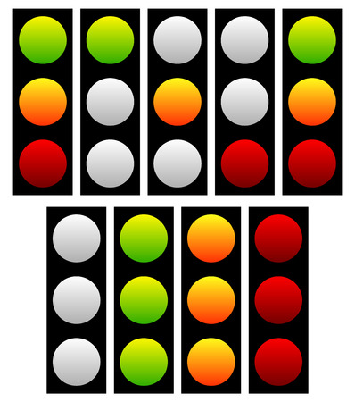 trafic stop: Set of traffic lights, lamps, signals. Green, yellow and red light.