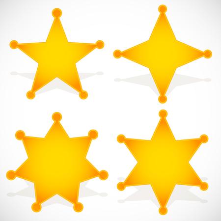 lucero: Insignia del sheriff occidental clásico, estrella de sheriff. Ilustración del vector.