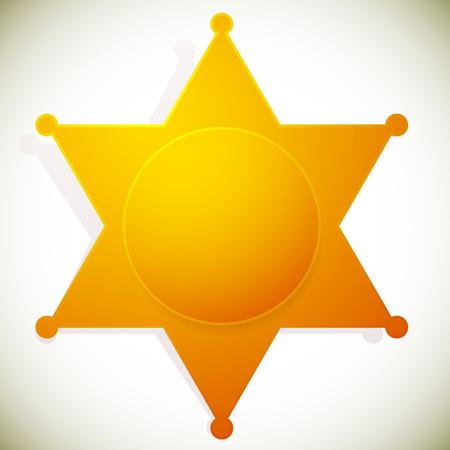 sherif: Classic western sheriff badge, sheriff star. Vector illustration.