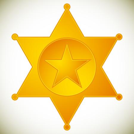 sheriff badge: Classic western sheriff badge, sheriff star. Vector illustration.
