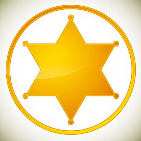 古典的な西部の保安官バッジ、保安官星。ベクトルの図。  イラスト・ベクター素材