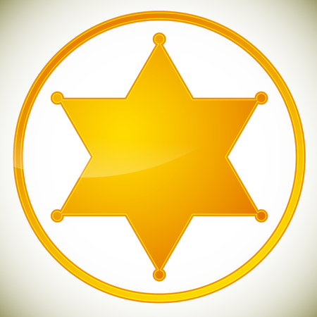 Klassieke western sheriff kenteken, sheriff ster. Vector illustratie.