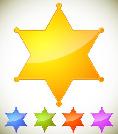 Classic western sheriff badge, sheriff star. Vector illustration.