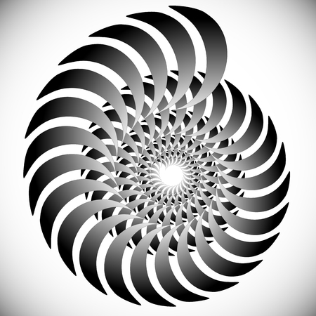 Abstract spinning, twirling graphics with rotating shapes. Spiraling, swirling element. Иллюстрация