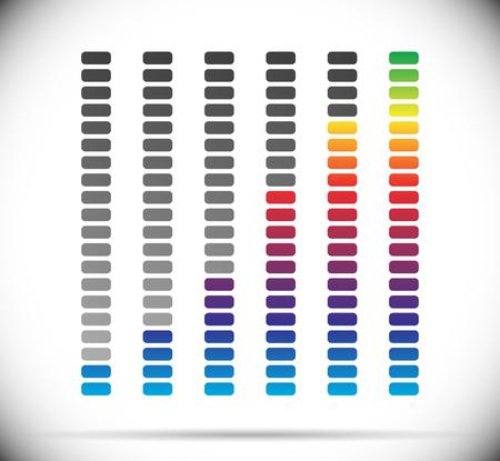 units: Color coded progress, level indicator with units.