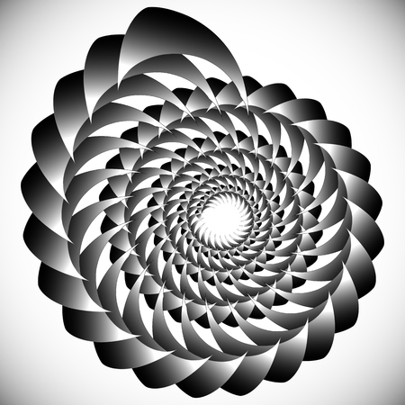 Abstract spinning, twirling graphics with rotating shapes. Spiraling, swirling element. Illustration