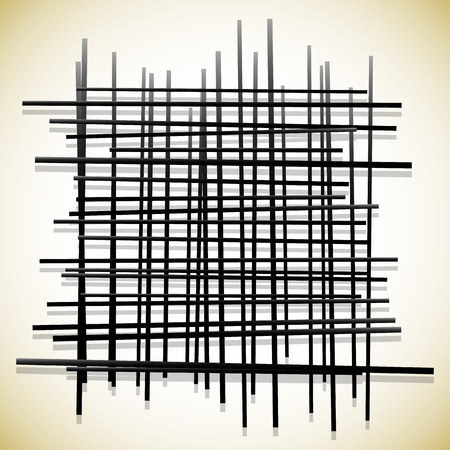 grating: Abstract lines pattern. Randomly placed, intersecting lines.