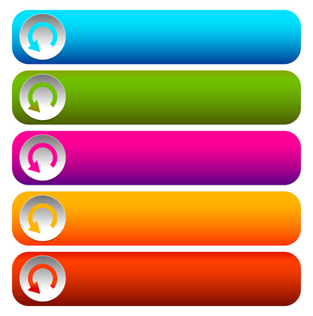 rectangular: Oblong blank buttons with circular arrow in 5 colors.
