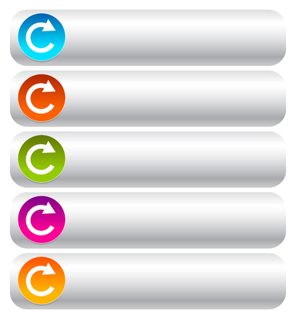 oblong: Oblong blank buttons with circular arrow in 5 colors.