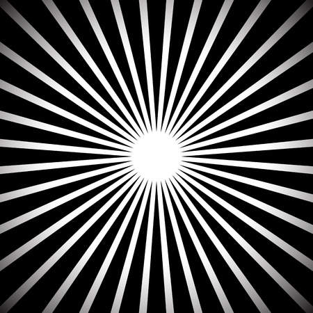 epicentre: Abstract monochrome background with radiating beams, rays. Grayscale starburst, sunburst background. Illustration