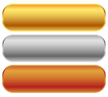 Gold, silver, bronze bars, banners. Editable vector. Иллюстрация