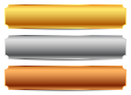 Gold, silver, bronze bars, banners. Editable vector. Vectores