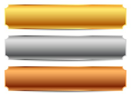 copper: Oro, plata, barras de bronce, banderas. Vectoriales editables. Vectores