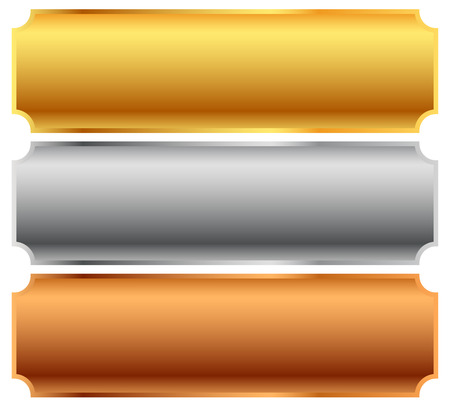 plaque: Gold, silver, bronze bars, banners. Editable vector. Illustration