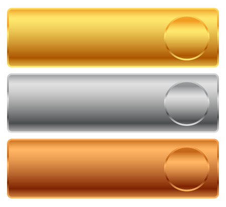 gold silver bronze: Gold, silver, bronze bars, banners. Editable vector. Illustration