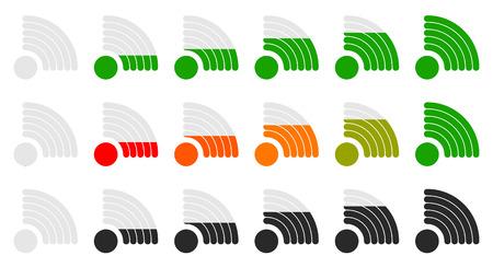 mobil: Signal strength indicator set with adjustable opacity mask. Illustration