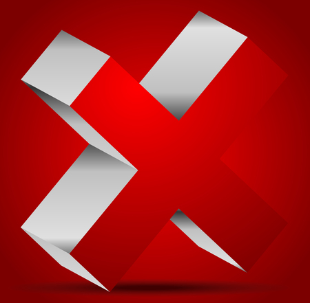 exclude: Red cross graphics. Remove, delete button, icon. editable vector