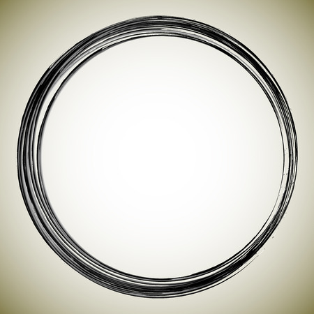 messy: Grungy circle isolated on brown background. Textured brushed stroke vector. Illustration
