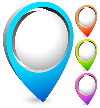 address: Bright, colorful map marker, map pin vector in 4 colors.