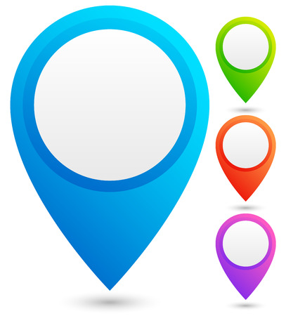 locate: Bright, colorful map marker, map pin vector in 4 colors.