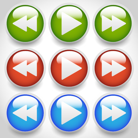 multi media: Rewind, play, fast forward navigation buttons. editable vector graphics.