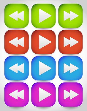 reverse: Rewind, play, fast forward navigation buttons. editable vector graphics.