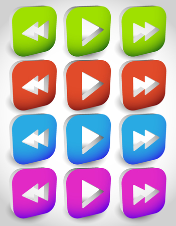 arow: Rewind, play, fast forward navigation buttons. editable vector graphics.