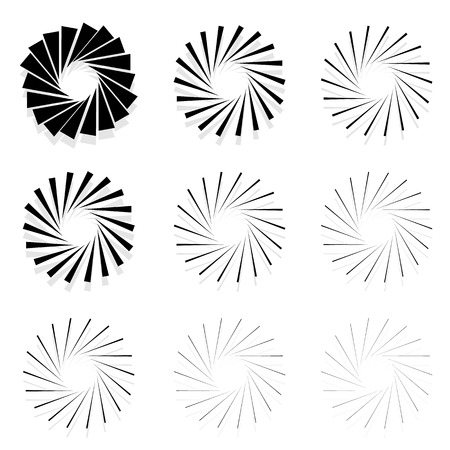 radiating: Abstract radial elements, radiating lines. Set of 9 version with different widths. Sunburst, starburst shapes.