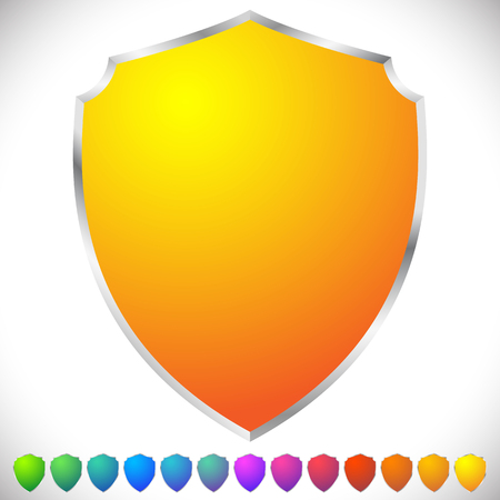 shields: Vector shields in spectrum colors with metallic frame and blank space. Protection, security concepts.