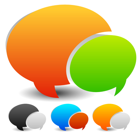 spech bubble: Speech bubble vector graphics. Two overlapping speech, talk bubbles for communication, chat, support concepts. Editable.