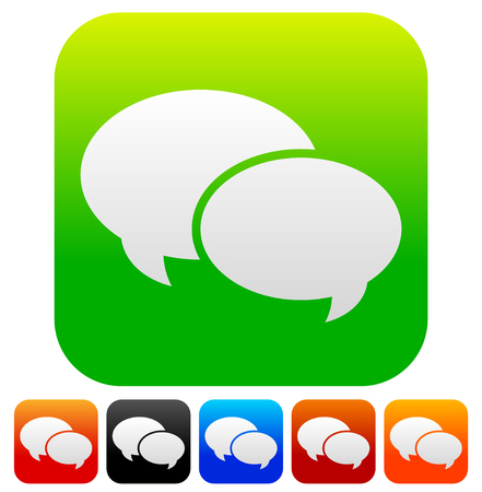 dialog baloon: Speech bubble vector graphics. Two overlapping speech, talk bubbles for communication, chat, support concepts. Editable.