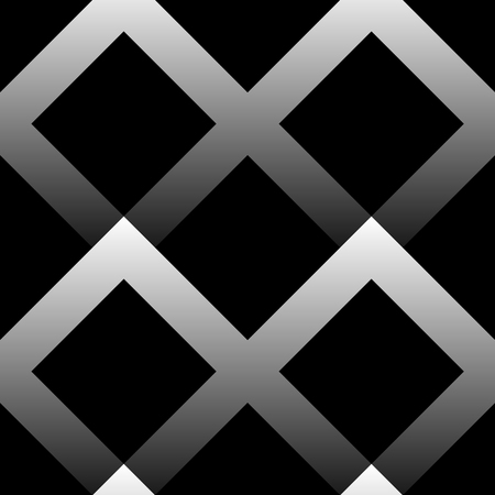 blocky: Seamless pattern made of squares with gradient fills. Black and white vector background.