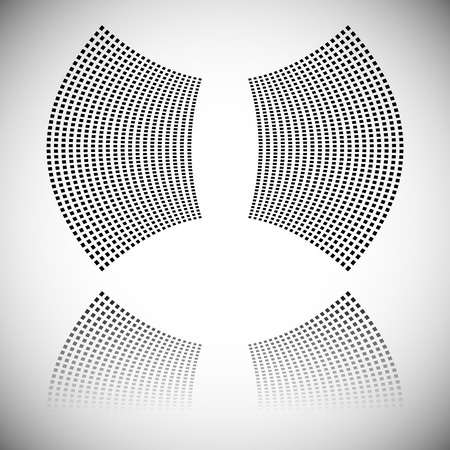 distort: Distortion effect on mesh of squares with reflection. Abstract vector element. Illustration