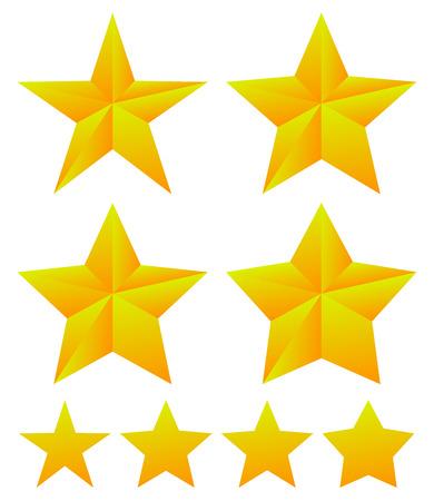 estrellas cinco puntas: Conjunto de formas de estrellas con diferentes espesores.