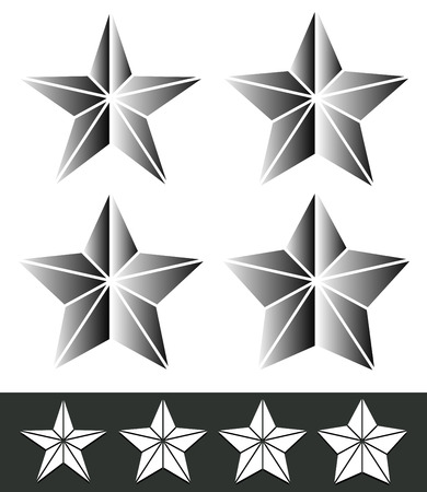 astral: Set of star shapes with different thickness.
