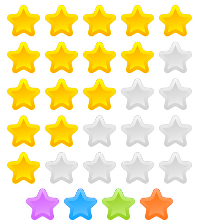 star rating: Star rating graphic element for valuation, review, classification concepts. Vector.