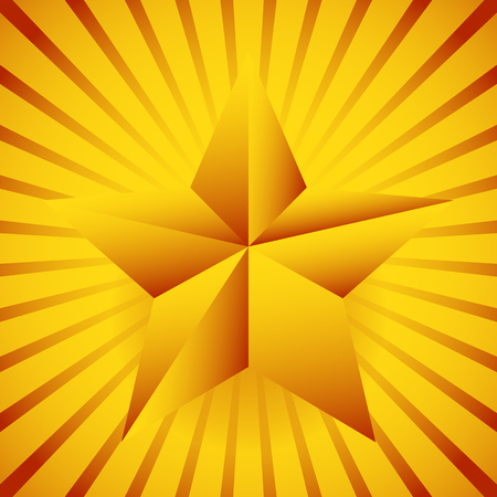 five pointed: Background with 3d star and bursting rays, beams.