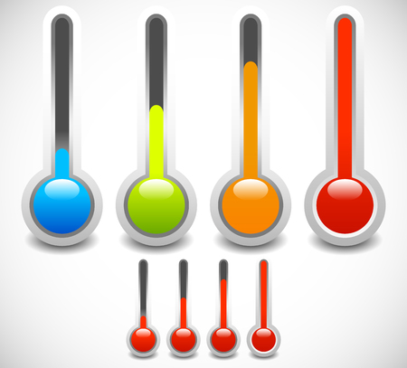 hotter: Vector thermometer set. Cold, hot temperature, weather.