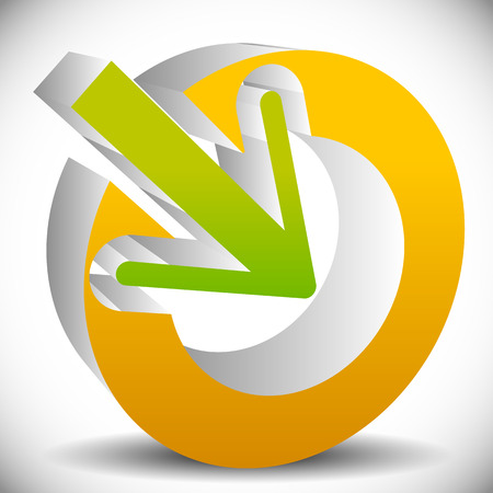 intake: Arrow pointing into a circle. Icon for center, midpoint, inside, target concepts. vector