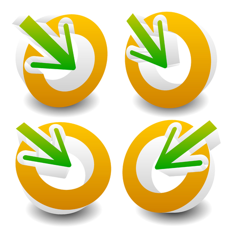 to gather: Arrow pointing into a circle. Icon for center, midpoint, inside, target concepts. vector