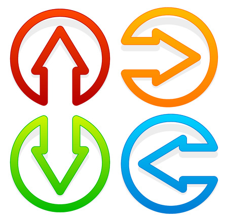 back and forth: Arrow icons pointing left, right, up and down
